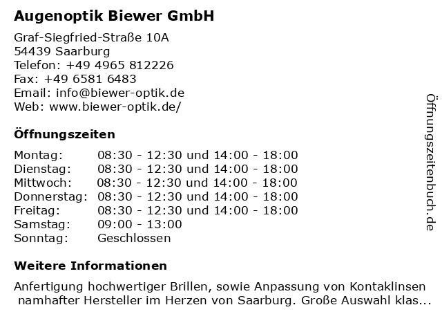 Augenoptik Biewer GmbH in Saarburg: Adresse und Öffnungszeiten