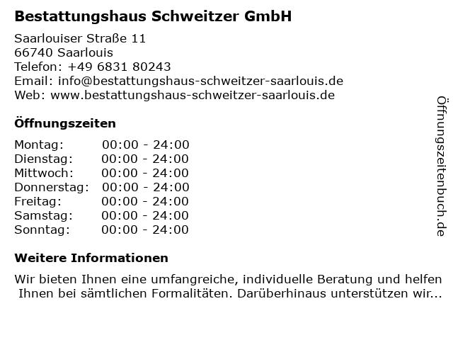 Bestattungshaus Schweitzer GmbH in Saarlouis: Adresse und Öffnungszeiten
