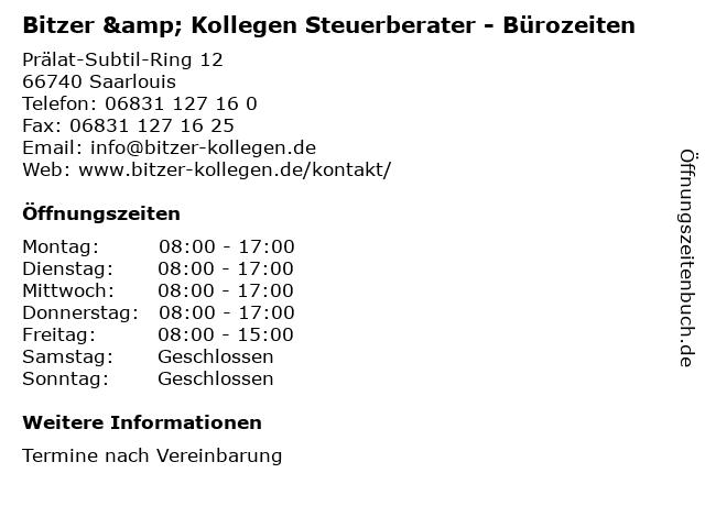 Bitzer & Kollegen Steuerberater - Bürozeiten in Saarlouis: Adresse und Öffnungszeiten