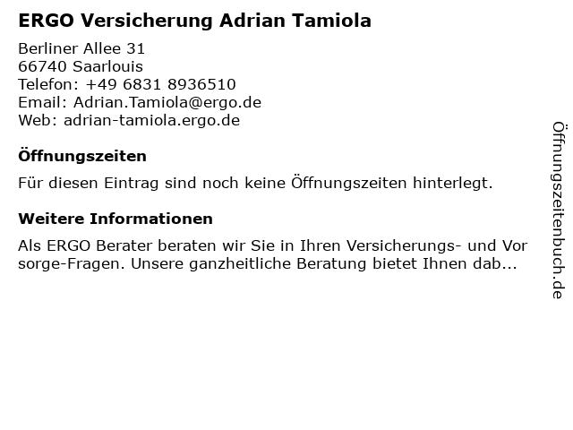 ERGO Versicherung Adrian Tamiola in Saarlouis: Adresse und Öffnungszeiten