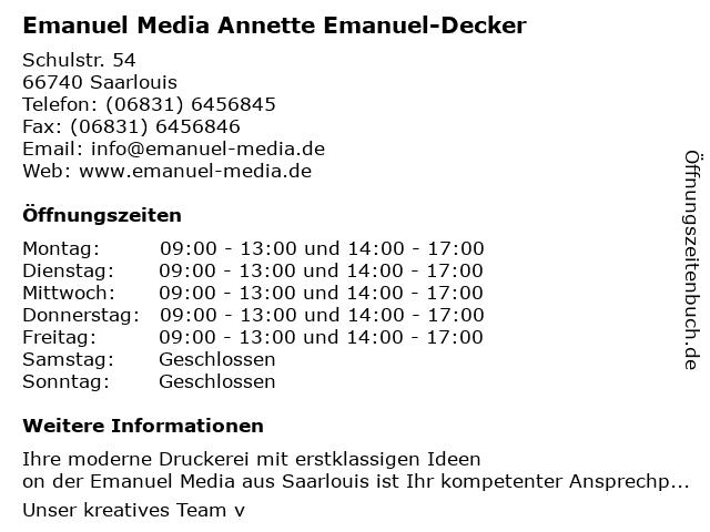 Emanuel Media Annette Emanuel-Decker in Saarlouis: Adresse und Öffnungszeiten