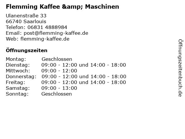 Flemming Kaffee & Maschinen in Saarlouis: Adresse und Öffnungszeiten
