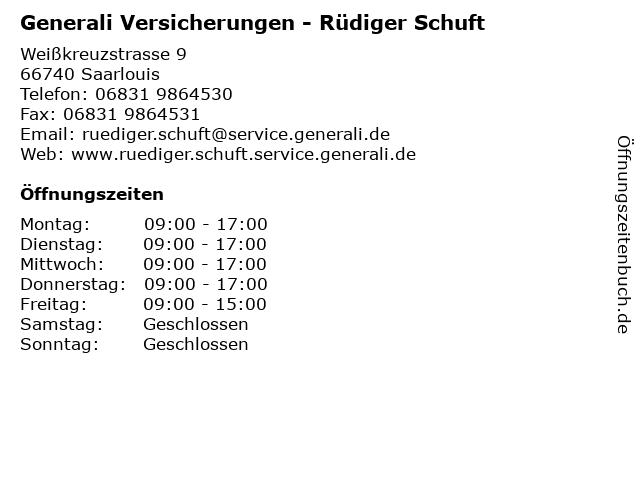 Generali Versicherungen - Rüdiger Schuft in Saarlouis: Adresse und Öffnungszeiten