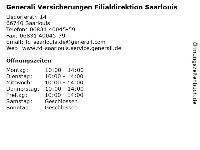 Generali Versicherungen Filialdirektion Saarlouis in Saarlouis: Adresse und Öffnungszeiten