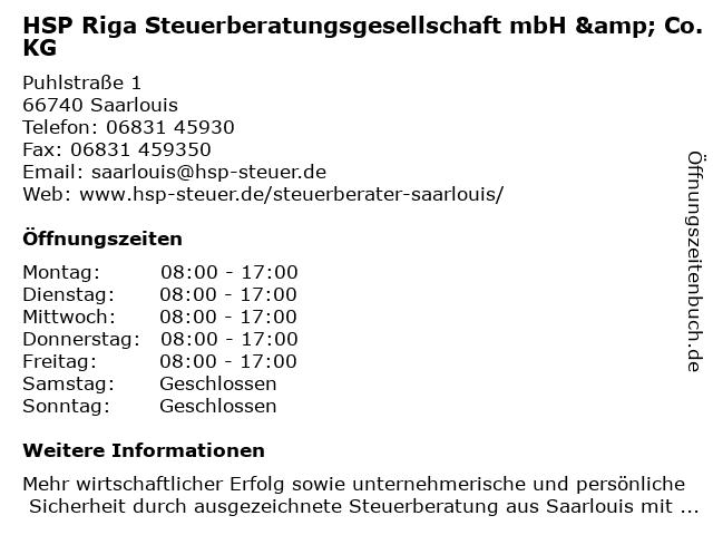 HSP Riga Steuerberatungsgesellschaft mbH & Co.KG in Saarlouis: Adresse und Öffnungszeiten