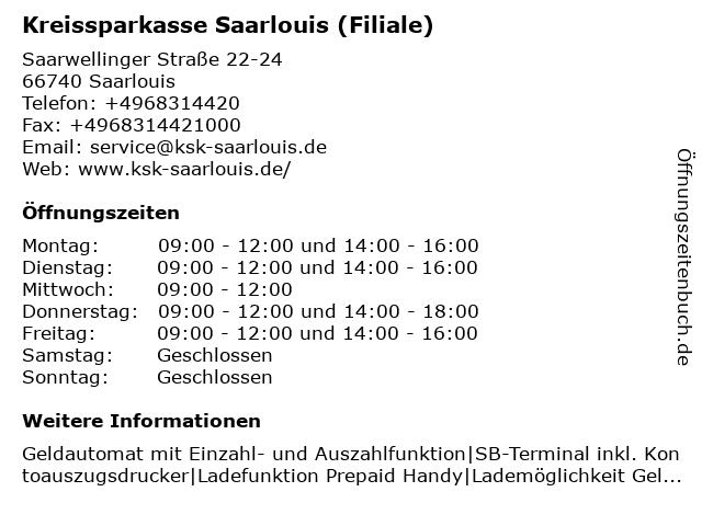 Kreissparkasse Saarlouis - Filiale Roden in Saarlouis: Adresse und Öffnungszeiten