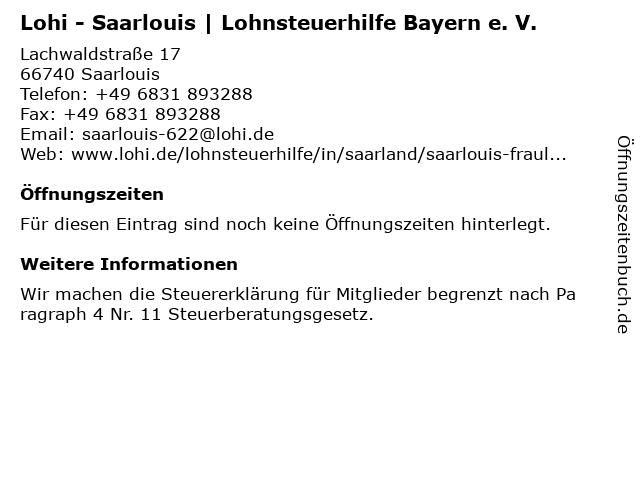 Lohi - Saarlouis   Lohnsteuerhilfe Bayern e. V. in Saarlouis: Adresse und Öffnungszeiten