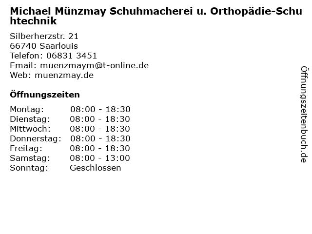 Michael Münzmay Schuhmacherei u. Orthopädie-Schuhtechnik in Saarlouis: Adresse und Öffnungszeiten