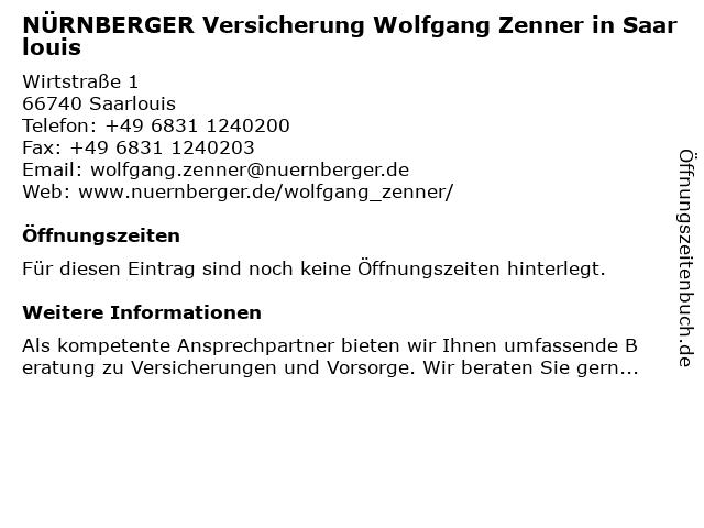 NÜRNBERGER Versicherung Wolfgang Zenner in Saarlouis in Saarlouis: Adresse und Öffnungszeiten