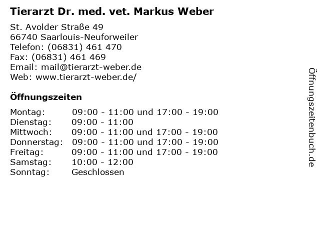 Tierarzt Dr. med. vet. Markus Weber in Saarlouis-Neuforweiler: Adresse und Öffnungszeiten