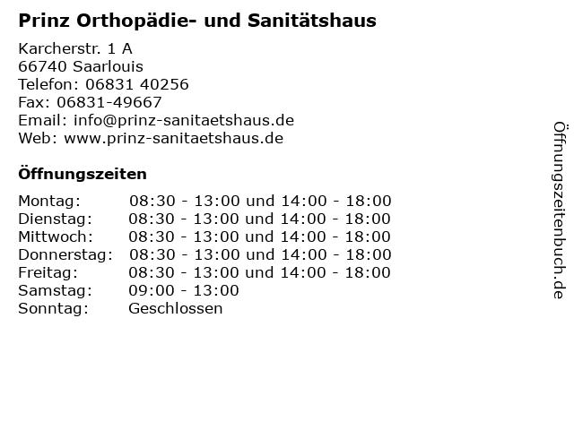Prinz Orthopädie- und Sanitätshaus in Saarlouis: Adresse und Öffnungszeiten