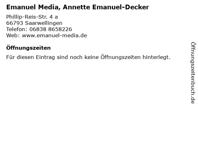 Emanuel Media, Annette Emanuel-Decker in Saarwellingen: Adresse und Öffnungszeiten