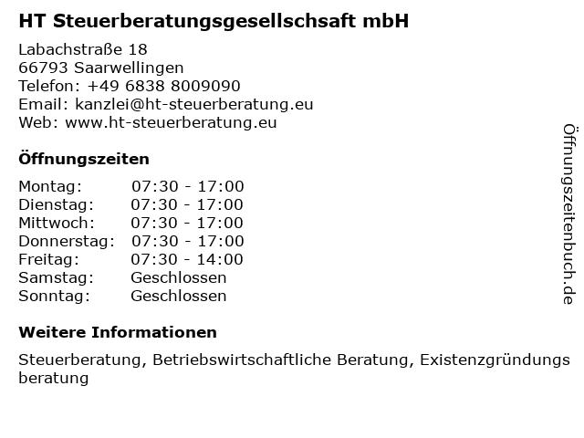 HT Steuerberatungsgesellschsaft mbH in Saarwellingen: Adresse und Öffnungszeiten