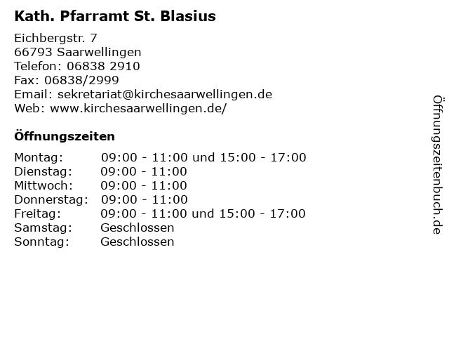 Kath. Pfarramt St. Blasius in Saarwellingen: Adresse und Öffnungszeiten
