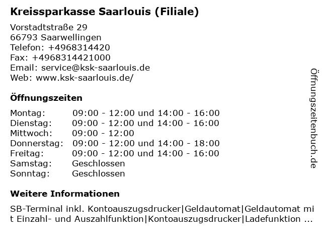 Kreissparkasse Saarlouis - Filiale Saarwellingen in Saarwellingen: Adresse und Öffnungszeiten