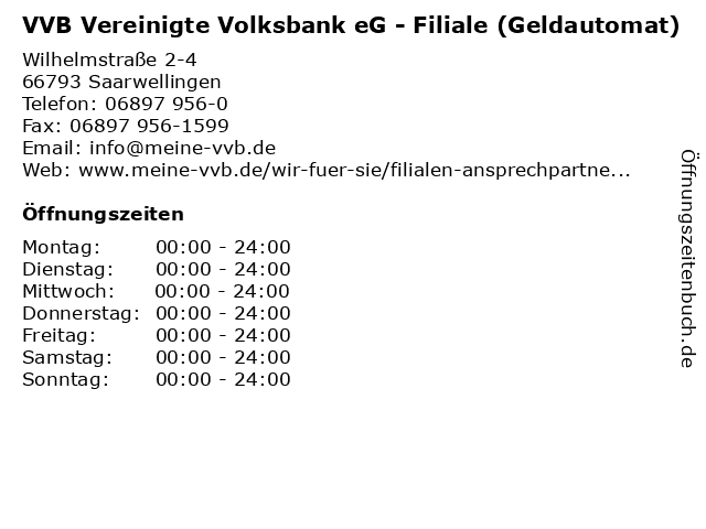 VVB Vereinigte Volksbank eG - Filiale (Geldautomat) in Saarwellingen: Adresse und Öffnungszeiten