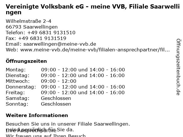 Vereinigte Volksbank eG - meine VVB, Filiale Saarwellingen in Saarwellingen: Adresse und Öffnungszeiten