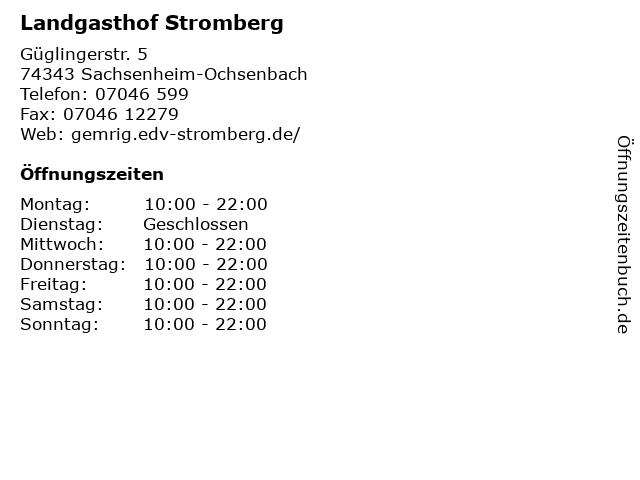 Landgasthof Stromberg in Sachsenheim-Ochsenbach: Adresse und Öffnungszeiten