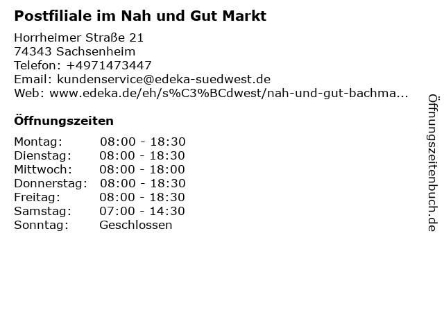 Postfiliale im Nah und Gut Markt in Sachsenheim: Adresse und Öffnungszeiten