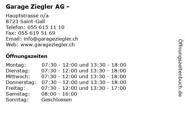 Garage Ziegler AG - in Saint-Gall: Adresse und Öffnungszeiten