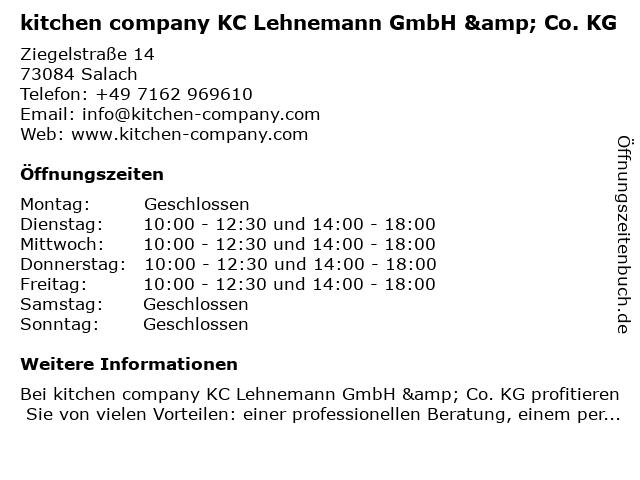 ᐅ Offnungszeiten Kitchen Company Kc Lehnemann Gmbh Co Kg