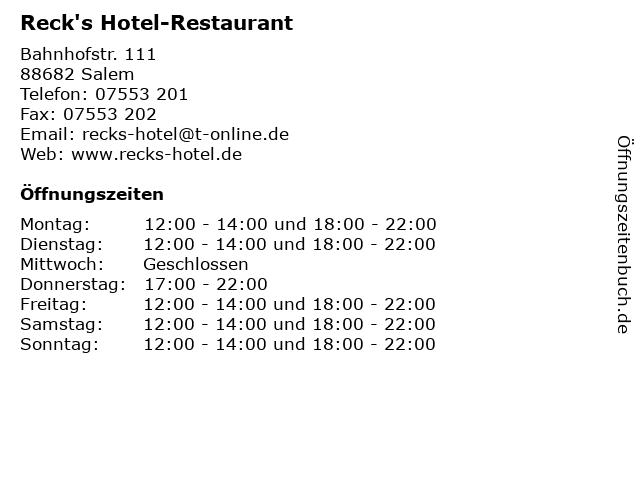 Reck's Hotel-Restaurant in Salem: Adresse und Öffnungszeiten