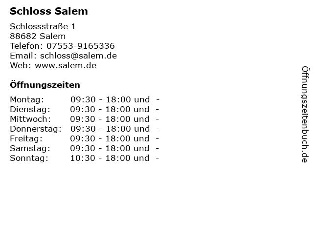 Schloss Salem in Salem: Adresse und Öffnungszeiten
