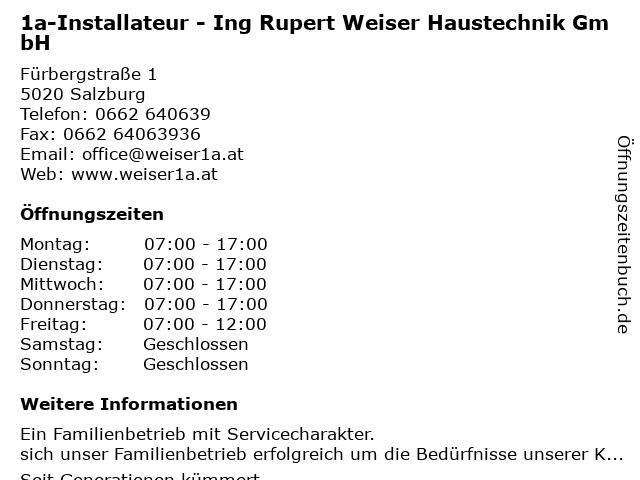 1a-Installateur - Ing Rupert Weiser Haustechnik GmbH in Salzburg: Adresse und Öffnungszeiten