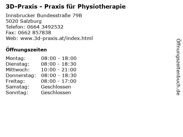 3D-Praxis - Praxis für Physiotherapie in Salzburg: Adresse und Öffnungszeiten