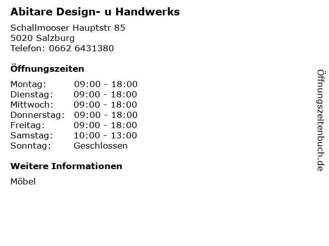 ᐅ öffnungszeiten Abitare Design U Handwerks Schallmooser