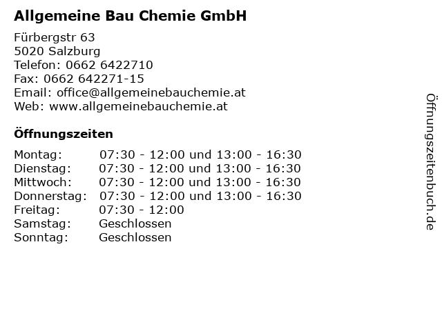 Allgemeine Bau Chemie GmbH in Salzburg: Adresse und Öffnungszeiten