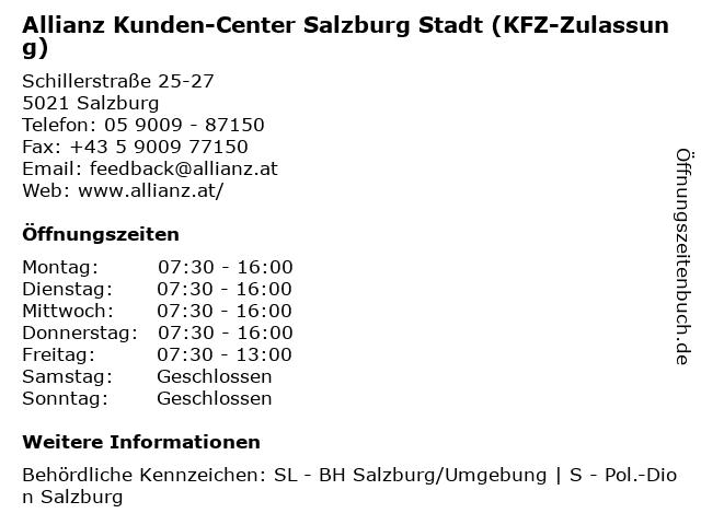 Allianz Kunden-Center Salzburg Stadt (KFZ-Zulassung) in Salzburg: Adresse und Öffnungszeiten