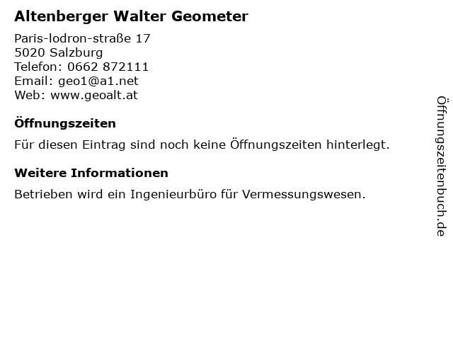 Altenberger Walter Geometer in Salzburg: Adresse und Öffnungszeiten