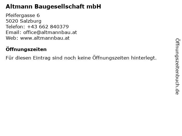 Altmann Baugesellschaft mbH in Salzburg: Adresse und Öffnungszeiten