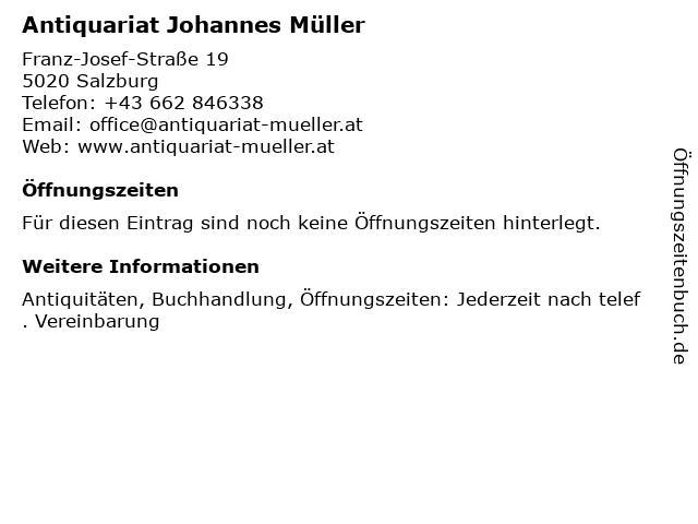 Antiquariat Johannes Müller in Salzburg: Adresse und Öffnungszeiten