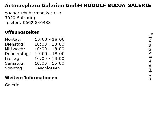 Artmosphere Galerien GmbH RUDOLF BUDJA GALERIE in Salzburg: Adresse und Öffnungszeiten