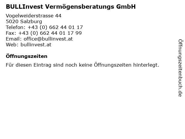 BULLInvest Vermögensberatungs GmbH in Salzburg: Adresse und Öffnungszeiten