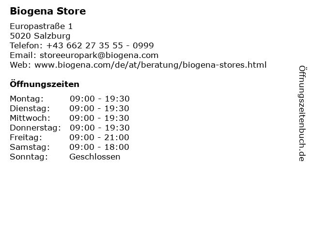 Biogena Store in Salzburg: Adresse und Öffnungszeiten