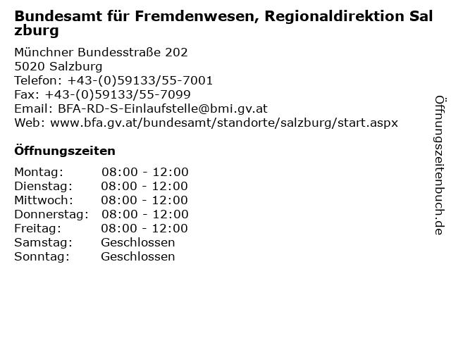 Bundesamt für Fremdenwesen, Regionaldirektion Salzburg in Salzburg: Adresse und Öffnungszeiten