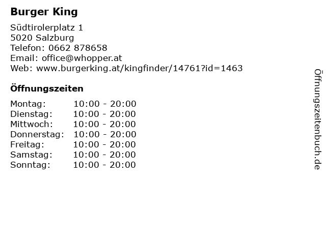 Burger King in Salzburg: Adresse und Öffnungszeiten