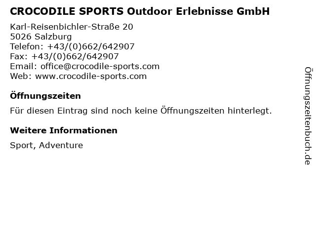 CROCODILE SPORTS Outdoor Erlebnisse GmbH in Salzburg: Adresse und Öffnungszeiten