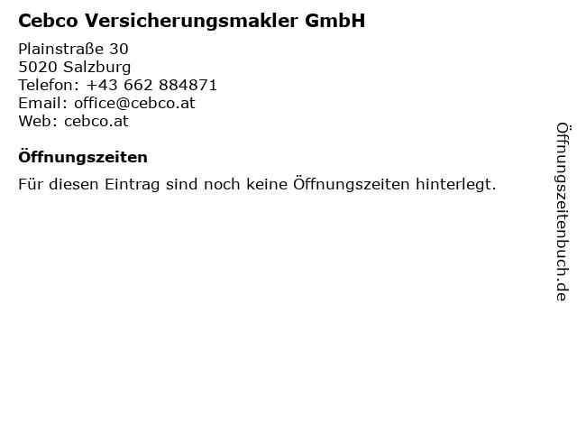 Cebco Versicherungsmakler GmbH in Salzburg: Adresse und Öffnungszeiten