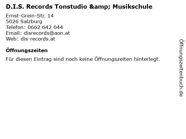 D.I.S. Records Tonstudio & Musikschule in Salzburg: Adresse und Öffnungszeiten