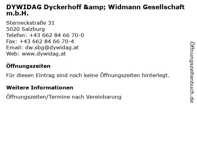 DYWIDAG Dyckerhoff & Widmann Gesellschaft m.b.H. in Salzburg: Adresse und Öffnungszeiten