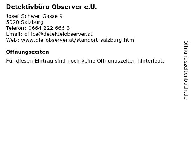 Detektivbüro Observer e.U. in Salzburg: Adresse und Öffnungszeiten