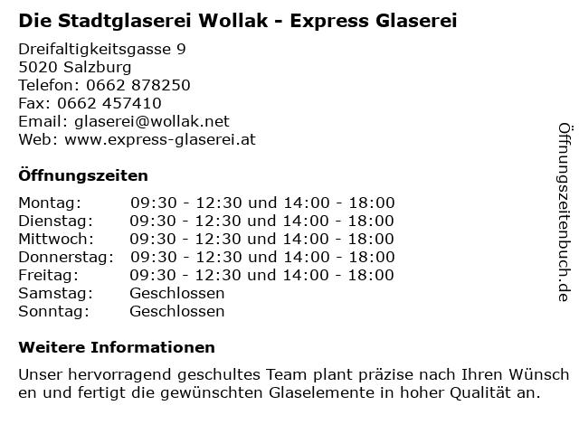 Die Stadtglaserei Wollak - Express Glaserei GesmbH in Salzburg: Adresse und Öffnungszeiten