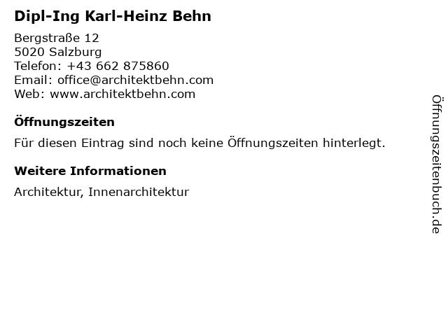 Dipl-Ing Karl-Heinz Behn in Salzburg: Adresse und Öffnungszeiten