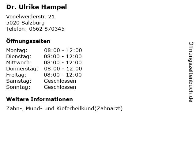 Dr. Ulrike Hampel in Salzburg: Adresse und Öffnungszeiten