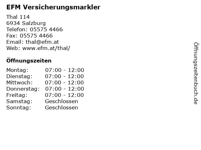 EFM Versicherungsmarkler in Salzburg: Adresse und Öffnungszeiten