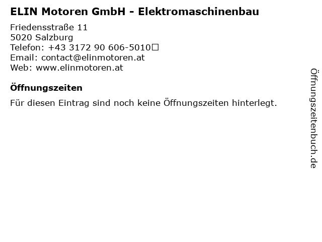 ELIN Motoren GmbH - Elektromaschinenbau in Salzburg: Adresse und Öffnungszeiten